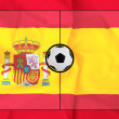 Soccer field layout on realistic Spain flag background — Stock Photo