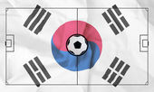 Soccer field layout on realistic South Korea flag background — Stock Photo