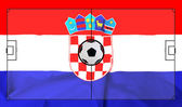 Soccer field layout on realistic Croatia flag background — Stock Photo