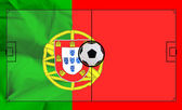 Soccer field layout on realistic Portugal flag background — Stock Photo