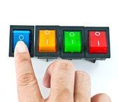 Mano encender un interruptor eléctrico azul — Foto de Stock