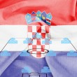 Stock Photo: Football tactics 4-4-2 formation with realistic Croatiflag background