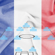 Stock Photo: Football tactics 4-4-2 formation with realistic France flag background