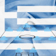 Stock Photo: Football tactics 4-4-2 formation with realistic Greece flag background