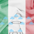 Stock Photo: Football tactics 4-4-2 formation with realistic Italy flag background