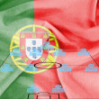 Stock Photo: Football tactics 4-4-2 formation with realistic Portugal flag background