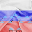 Stock Photo: Football tactics 4-4-2 formation with realistic Russiflag background