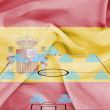 Football tactics 4-4-2 formation with realistic Spain flag background — Stock Photo #10642060