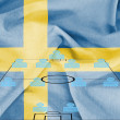 Stock Photo: Football tactics 4-4-2 formation with realistic Sweden flag background