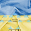 Stock Photo: Football tactics 4-4-2 formation with realistic Ukraine flag background