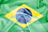 Football tactics 4-4-2 formation with realistic Brazil flag background — Stock Photo