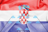 Football tactics 4-4-2 formation with realistic Croatia flag background — Stock Photo