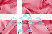 Football tactics 4-4-2 formation with realistic Denmark flag background — Stock fotografie