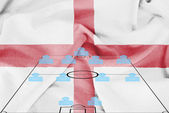 Football tactics 4-4-2 formation with realistic England flag background — Stock Photo