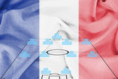 Football tactics 4-4-2 formation with realistic France flag background — Stock Photo