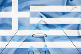 Football tactics 4-4-2 formation with realistic Greece flag background — Stock Photo