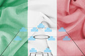 Football tactics 4-4-2 formation with realistic Italy flag background — Stock Photo