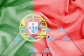 Football tactics 4-4-2 formation with realistic Portugal flag background — Stock Photo