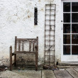 Old decayed chair and vine rack in backyard — Stock Photo