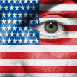 Flag painted on face with green eye to show USA support in sport — Stock Photo