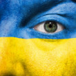 Flag painted on face with green eye to show Ukraine support - Stock Photo
