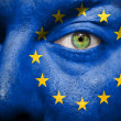 Flag painted on face with green eye to show Europe support - Stock Photo