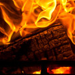 Log in Fire Place with Intensive Flames — Stock Photo