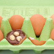 Egg with chocolate suprise and hazelnuts in carton of eggs — Stock Photo
