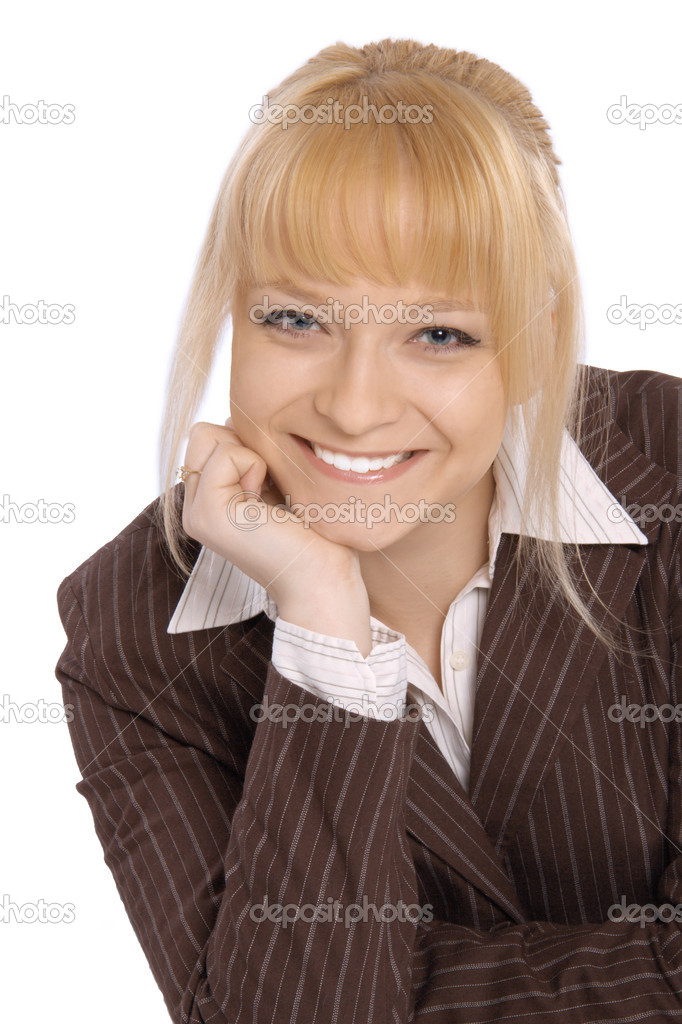 Closeup portrait of a happy young business woman smiling isolated on white background   Stock Photo #10459355
