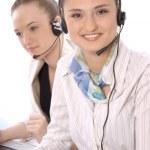 Closeup portrait of happy customer service representatives — Stock Photo #10571318