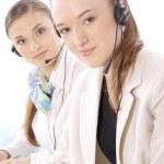 Closeup portrait of happy customer service representatives — Stock Photo #10571338