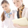 Closeup portrait of two beautiful young female business executives — Stock Photo #10571339