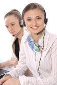 Closeup portrait of happy customer service representatives — Stock Photo