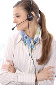Closeup of a female customer service representative — Stock Photo