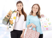 Portrait of stunning young women carrying shopping bags — Stock Photo