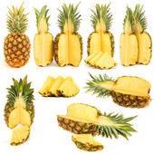 Pineapples collection isolated over white background — Stock Photo