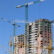 Six cranes on construction site — Stock Photo