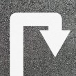 U-turn arrow on new asphalt — Stock Photo