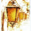 Old lanterns, picture in retro style — Stock Photo
