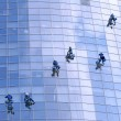 Workers washing windows in the office building — Stock Photo