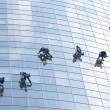Six workers on office building — Stock Photo