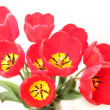 Bouquet of red tulips isolated on white background — Stock Photo