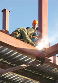 Two welders working on construction site — Stock Photo