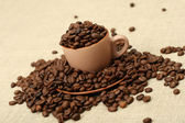 Full cup of coffee beans — Stock Photo