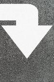 White arrow on new asphalt — Stock Photo