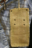 Close-up of cotton jeans with label — ストック写真