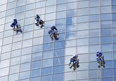 Six workers washing windows — Stock Photo