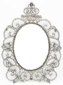 Old antique silver frame over white background — Stock Photo