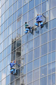 Three window washers on highrise office building — Stock Photo