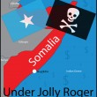 Somalia pirates vector map (Under Jolly Roger) — Stock Vector